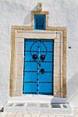 Blue Tunisian front door