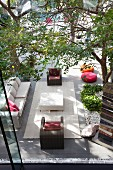 Modern outdoor furniture on summer terrace