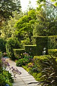Path leading through summery garden with clipped, stepped hedges