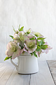 Bouquet of hellebores in enamel jug