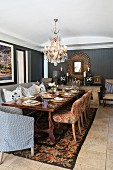 Set table in comfortable dining room