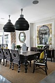 Black furniture in modern, Colonial-style dining room
