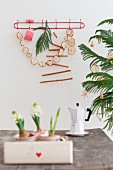 White hyacinths in drawer, espresso pot, garland of dried apple slices and cinnamon sticks on wall and small Christmas tree with straw stars