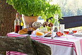 Basic plant, bread, cheese, wine and carafe of water on set table outdoors
