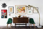 Mid-century style upholstered chairs, chest of drawers and picture gallery