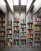 Floor-to-ceiling concrete bookcase with uprights continuing into ceiling beams