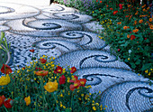Mosaic Path by Maggy Howarth, Papaver nudicaule (Iceland poppy)