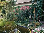 Prefabricated pond, garden lamp