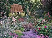 Garden bench with perennial border