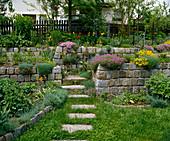 Cobblestone rock garden