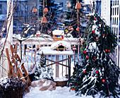 Christmas decorated balcony