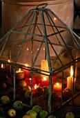 Small glass greenhouse as a lantern
