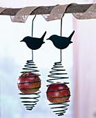 Bird feed holder for apples and dumplings