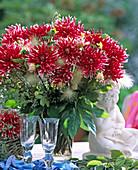 Dahlia hybrid, (Cactus dahlia), Pennisetum (Chinese pennisetum)