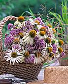 Basket with Echinacea purpurea 'Alba', (coneflower in white)