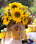 Helianthus annuus (sunflower), ornamental gourds, autumn leaves, grasses