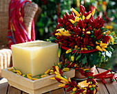 Bouquet and wreath made of chilli (hot peppers, capsicum frutescens)