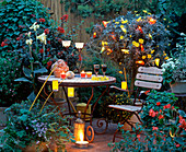 Terrace with lanterns and colorful lights