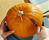 Hollowing out the pumpkin - Cut out the lid with sharp knives