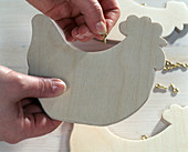 Homemade wooden chickens