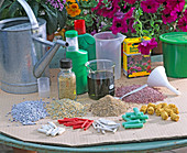 Various permanent and liquid fertilizers for balcony flowers
