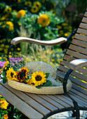 Straw hat with Helianthus annuus (sunflower)