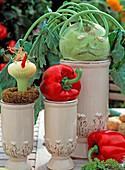 Vegetable heads, kohlrabi, onion, paprika