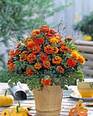 Summer bouquet with Zinnia, Carthamus, grasses