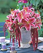 Lilium 'Stargazer', Amaranthus (Foxtail)