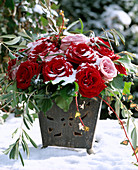 Rose bouquet with snow, hedera (ivy) with berries and olive branch