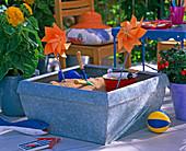 Tin box as a sandbox for children