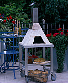Mobile pizza oven made of 6 parts