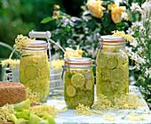 Elderberry lemonade, water, lemon, sugar and elderflower