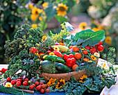 Basket with harvested vegetables