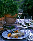 Boiled potatoes and herb quark, chives and parsley
