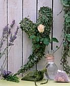 Herb heart, heart shaped chicken wire, with rosemary