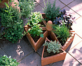 Rondelle from triangular clay pots planted with herbs