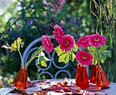 Gerbera flowers in swinging vases