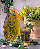 Herbal oil with rosemary and thyme, thymus citriodorus
