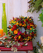 Flower wreath with late summer flowers
