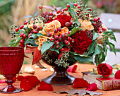 Rose and rosehips, hedera (ivy), dianthus