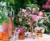 Rose table decoration, Malus flowers, Prunus flowers