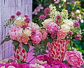 Pink 'Vendela', 'Shirley Spray' (Roses, Paeonia 'Sarah Bernard')