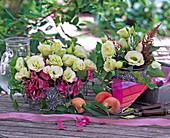 Eustoma (prairie gentian), Hydrangea (hydrangea)
