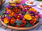 Wreath with Tagetes, Calendula, Malus