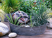 Zinc bowl with hand-made water feature