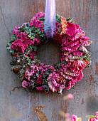 Brassica (ornamental cabbage) wreath, soft purple ribbon