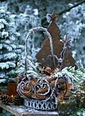 Picea (pine) cones, pinus (pine) cones, metal basket, metal fir trees