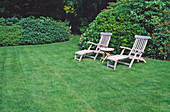 Deck chairs and side table on the lawn in front of Rhododendron