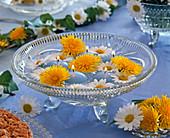 Crystal bowl with taraxacum (dandelion)